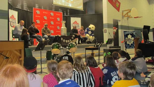 A packed house full of teachers and students at Rhema Christian School in Peterborough listen intently as members of our Hockey Night in Canada team speak to them on Friday. (Monika Platek/CBC Sports)