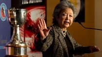 Former governor general Adrienne Clarkson speaks as she donates the Clarkson Cup to the Hockey Hall of Fame in Toronto on Thursday. (Frank Gunn/Canadian Press)
