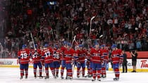 Montreal Canadiens players salute the crowd at centre ice after being eliminated in Game 5 against the Ottawa Senators at the Bell Centre on Thursday in Montreal. (Francois Laplante/Freestyle Photo/Getty Images)