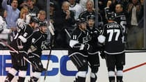 Los Angeles Kings forward Anze Kopitar, centre, celebrates with Dustin Brown, second from right and Jeff Carter after scoring against the St. Louis Blues in Los Angeles Monday. (Lucy Nicholson/Reuters)