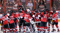 The Ottawa Senators celebrate an overtime win against the Montreal Canadiens in Game 4 Tuesday in Ottawa. (Fred Chartrand/Canadian Press)