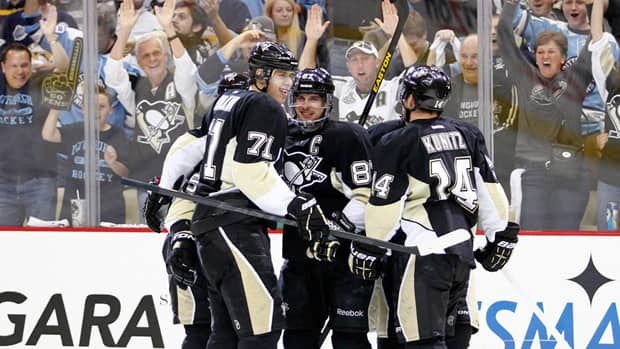 The Pittsburgh Penguins celebrate in the second period against the Ottawa Senators in Game 2 of the Eastern Conference Semifinals at Consol Energy Center on May 17, 2013 in Pittsburgh, Pennsylvania. (Justin K. Aller/Getty Images)