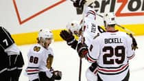 Chicago Blackhawks right wing Patrick Kane (88) celebrates his second-period goal against the Los Angeles Kings with teammates Jonathan Toews (19) and Bryan Bickell (29) during Game 4  in Los Angeles. (Lucy Nicholson/Reuters)