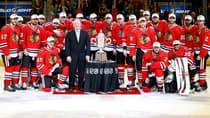 The Chicago Blackhawks pose with the Clarence S. Campbell Bowl after they won 4-3 in the second overtime against the Los Angeles Kings during Game 5 of the Western Conference final Saturday night. (Gregory Shamus/Getty Images)