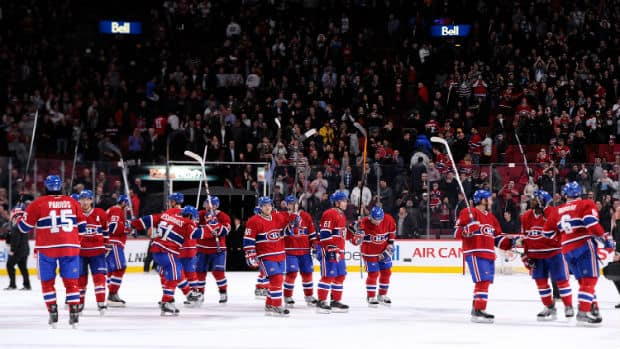 Montreal Canadiens celebrate their win Saturday. (Getty Images)