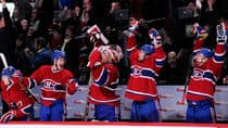 Members of the Montreal Canadiens celebrate after David Desharnais #51 score the game tying goal late in the third period during the NHL game against the Ottawa Senators at the Bell Centre.