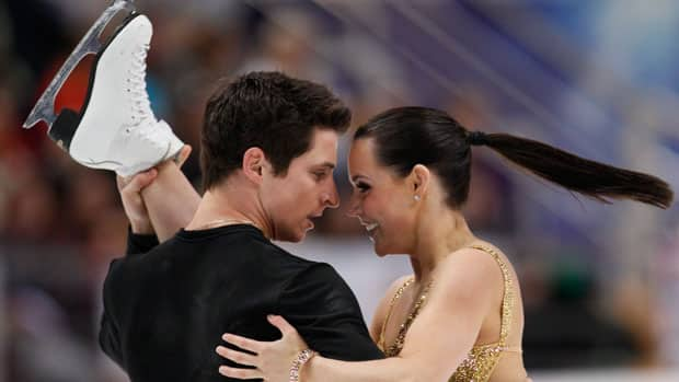 Canada's Tessa Virtue, right, and partner Scott Moir are focused on regaining their world ice dance title this season. (Dmitry Lovetsky/Associated Press)