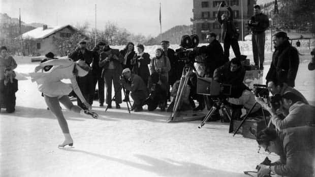 Canada's Barbara Ann Scott, left, won Olympic gold on the outdoor rink at St. Moritz in 1948. (Chris Ware/Keystone/Getty Images)