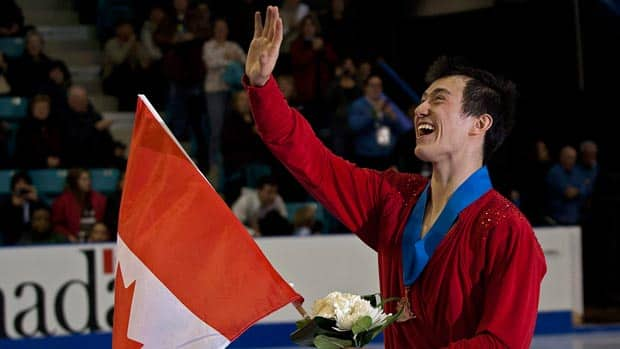 Patrick Chan celebrates his record-breaking gold-medal win at the Canadian figure skating championships in Moncton, N.B. (Andrew Vaughan/Canadian Press)