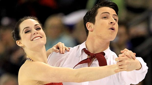 Tessa Virtue and Scott Moir of Canada perform Sunday's free dance at the ISU Four Continents Figure Skating Championships. (Matthew Stockman/Getty Images)