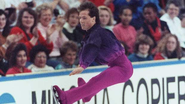 Kurt Browning, here performing at the 1990 world championships in Halifax, made history two years earlier when he landed the first ever quad in competition. (Andrew Vaughan/Canadian Press)