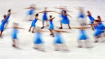 Synchronized figure skating demands that 16 athletes move in concert with each other. (Hrvoje Polan/AFP/Getty Images)