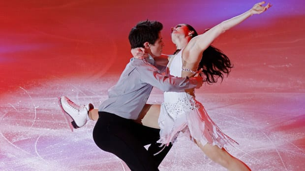 Tessa Virtue and Scott Moir of Canada perform during a skating show at the ISU Grand Prix of Figure Skating's Rostelecom Cup in Moscow, Russia on Sunday. (Misha Japaridze/Associated Press)