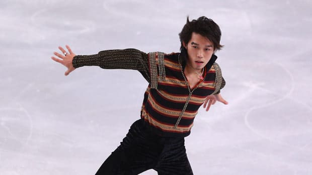 Takahito Mura of Japan, seen in action during the free skate Saturday at Omnisports Bercy in Paris, was just eighth at Skate Canada last month. (Michael Steele/Getty Images)