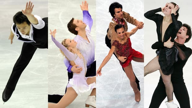 Canadian hopes at the Grand Prix final in Sochi, Russia, shown from right to left: Patrick Chan, Kirsten Moore-Towers and Dylan Moscovitch, Megan Duhamel and Eric Radford, and Tessa Virtue and Scott Moir. (Getty Images/CBCSports.ca)