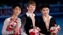 Canada's Kevin Reynolds, centre, beat Japan's Yuzuru Hanyu, left, on his home turf and third-placed Yan Han of China for the men's title at the Four Continents Figure Skating Championships in Osaka on Saturday. (Shizuo Kambayashi/Associated Press)