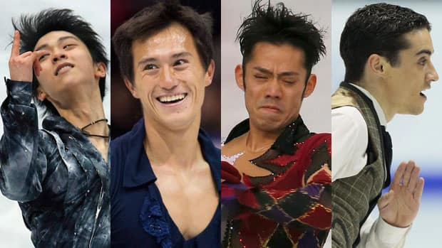 Four skaters in contention to call themselves world champion, from left, Yuzuru Hanyu, Patrick Chan, Daisuke Takahashi and Javier Fernandez. (Photos courtesy The Associated Press)
