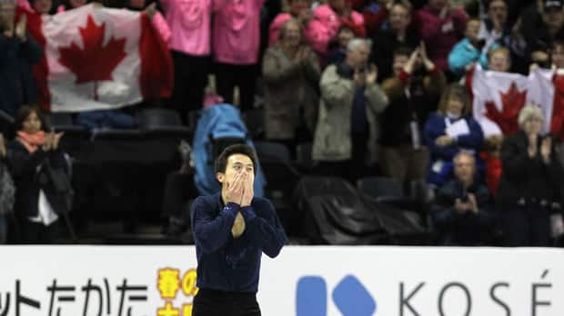 Canada's Patrick Chan basked in the cheers from an adoring crowd in London, Ont., after his record-breaking short skate. (Dave Sandford/Getty Images)