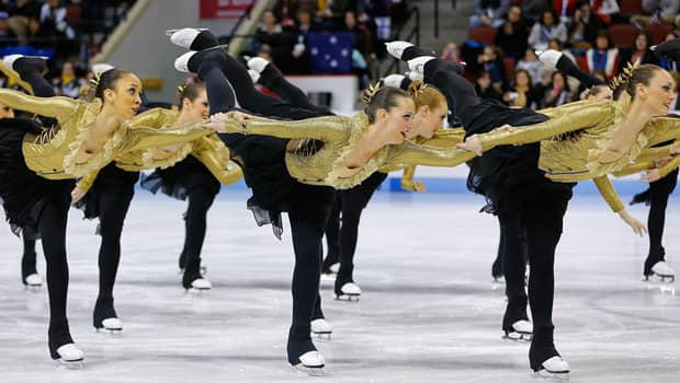Team Canada 1 performs last Saturday in the ISU World Synchronized Skating Championships at Agganis Arena in Boston. (Jared Wickerham/Getty Images)