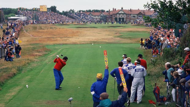 Seve Ballesteros tees off at No. 18 in the 1988 Open Championship at Royal Lytham & St Annes. (David Cannon/Getty Images)