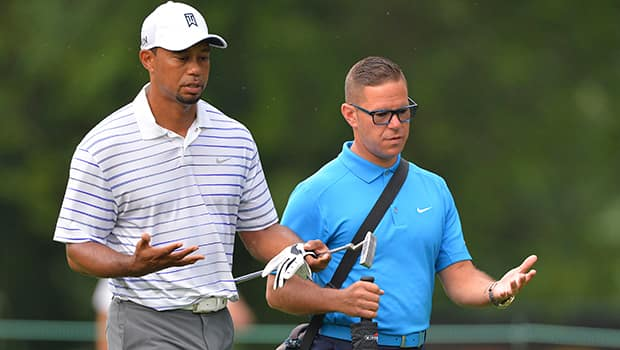 Tiger Woods, left, confirmed Monday that he has parted ways with Canadian swing coach Sean Foley of Burlington, Ont. (Tommy Gilligan/Reuters)