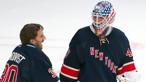 New York Rangers goalies Henrik Lundqvist (30) and Martin Biron (43) have combined to lead the league in the goals allowed category so far this season. (Ray Stubblebine/Reuters)