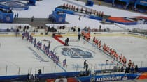 An overhead view of the NHL Winter Classic's alumni game between the NY Rangers and Philadelphia Flyers. Courtesy Jeremy Roenick on Facebook.