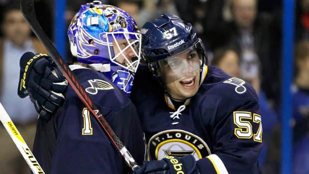 Goalie Brian Elliott, left, has helped lead the St. Louis Blues to 10-2-2 run since Jan. 1. (Jeff Roberson/Associated Press)