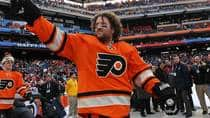 Scott Hartnell of the Philadelphia Flyers waves to fans prior to the start of the 2012 Bridgestone NHL Winter Classic against the New York Rangers on January 2, 2012 in Philadelphia. Hartnell is considered by some to be worthy of a spot on the All-Star roster, even though he wasn't named to the team this year. (Bruce Bennett/Getty Images)