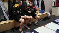 Pavel Datsyuk, right, and Zdeno Chara chat in the Team Chara dressing room prior to the 2012 Tim Hortons NHL All-Star Game at Scotiabank Place in Kanata, Ont. (Bruce Bennett/Getty Images)