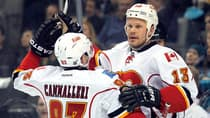 Olli Jokinen, right, has been part of Calgary Flames trade deadline deals that have seen him both join and leave the club. Teammate Mike Cammalleri (93), left, was part of the latest deal by the Flames. (Associated Press/File)