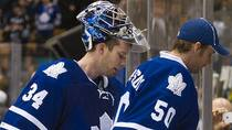 The duo of James Reimer (34) and Jonas Gustavsson (54) hasn't provided the Toronto Maple Leafs with consistent goaltending this season. (Nathan Denette/Canadian Press) 