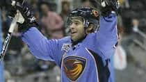 In this file photo, Atlanta Thrashers right wing Darren Haydar celebrates his first and only NHL goal against the New Jersey Devils during their game on Oct.13, 2007, in Atlanta. (John Amis/Associated Press)