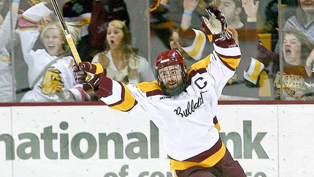 Minnesota-Duluth centre Jack Connolly (12) celebrates after scoring a goal in a college hockey game against North Dakota on Feb. 11, 2012. Connolly attended Minnesota Wild's prospect camp last summer and Chicago Blackhawks prospect camp two summers ago.