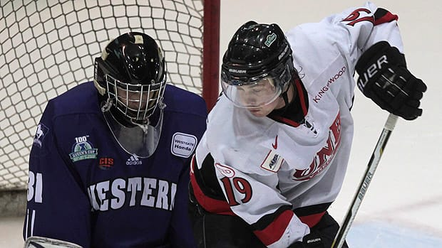 Forward Jordan Clendenning, seen in a 2011 CIS game, is looking to cap his Canadian collegiate hockey career on a high note. (Mike Dembeck/Canadian Press)