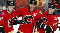If the Flames are to gain a playoff berth and have success, they need captain Jarome Iginla, middle, at his best, but also secondary scoring from the likes of Alex Tanguay, left, and Matt Stajan, right. (Jeff McIntosh/Canadian Press)