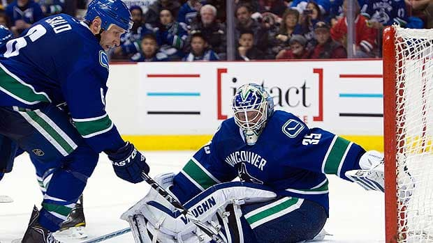 Sami Salo, Cory Schneider and the Vancouver Canucks are down but not out in the first round against the Los Angeles Kings. (Rich Lam/Getty Images)