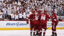 The Phoenix Coyotes celebrate against the Nashville Predators in Game 2 of the Western Conference Semifinals during the 2012 NHL Stanley Cup Playoffs at Jobing.com Arena on April 29, 2012 in Glendale, Arizona. (Christian Petersen/Getty Images)