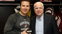 Phoenix forward Ray Whitney set up John McCain for his 1,000th point on Saturday night. Hey, it's April 1. Radim Vrbata was the goal scorer on the milestone play. (Ross D. Franklin/Associated Press)