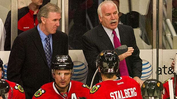 Mike Haviland, left, had been part of Joel Quenneville's staff on the 2010 championship team, but was jettisoned by the Chicago Blackhawks earlier this week. (Chris Cherney/Associated Press)