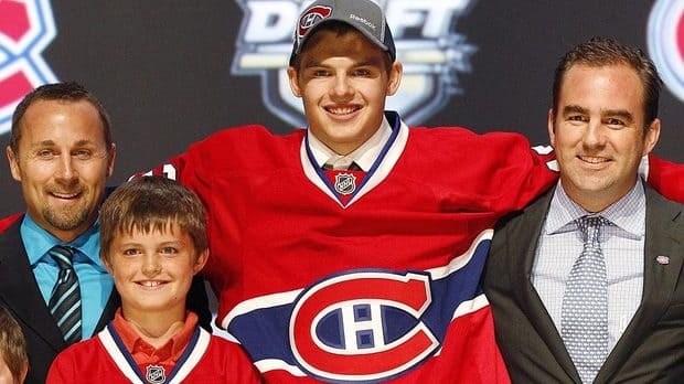 The Canadiens drafted Alex Galchenyuk, shown here, third overall on Friday night, but will have to a decision on fellow centre Scott Gomez over the summer. (Bruce Bennett/Getty Images)