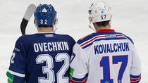 Dynamo Moscow's Alexander Ovechkin, left, and SKA St. Petersburg's Ilya Kovalchuk skate during a KHL game in Moscow earlier this week. As NHL players flock to Europe during the lockout, what about the players they displaced? (Maxim Shemetov/Reuters)