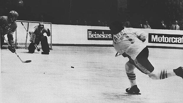 Phil Esposito of Team Canada shoots on the Soviet net in Game 6 at Central Lenin Stadium (Canadian Press photo archives)