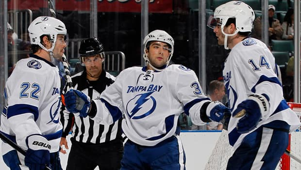 Lightning prospect Cory Conacher, middle, was named the most valuable player and rookie of the year in the AHL last season. (Joel Auerbach/Getty Images)