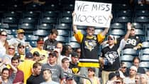 A Pittsburgh Penguins fan expresses himself during the game between the Pittsburgh Pirates and the Atlanta Braves earlier this month at PNC Park in Pittsburgh, Penn. (Justin K. Aller/Getty Images)