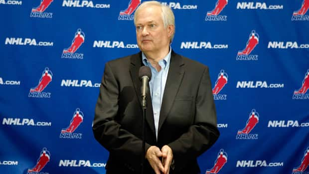 NHLPA executive director Donald Fehr speaks to the press following collective bargaining talks in Toronto on Tuesday. (Chris Young/Canadian Press)