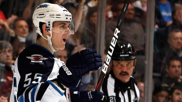 The Winnipeg Jets' Mark Scheifele celebrates his first NHL goal on Oct.19, 2011 in Toronto. (Abelimages/Getty Images)