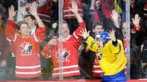 Mika Zibanejad, shown here celebrating his overtime goal during the 2012 World Junior Hockey Championship gold medal game in Calgary, will play in North America this season. The Senators will look for such clutch play from the Swede in the future with their club. (Richard Wolowicz/Getty Images)
