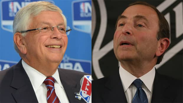Commissioners from different sports like David Stern, left, and Gary Bettman often speak the same language in labour disputes. (Bruce Bennett and Jesse D. Garrabrant/Getty Images)