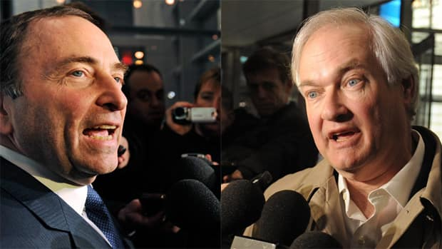 We have opposing views today from two fans, with one seeming to support Gary Bettman (left) and the NHL owners, while the other backs Donald Fehr (right) and the NHLPA. (File/Associated Press)